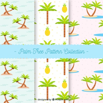 Patterns of palm trees and pine cones