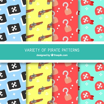 Patterns of pirate elements in flat design