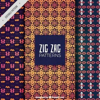 Patterns of zig-zag designs
