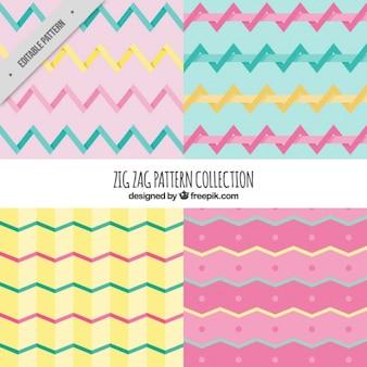 Patterns of zig-zag stripes in flat design