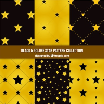 Patterns with black and golden stars collection