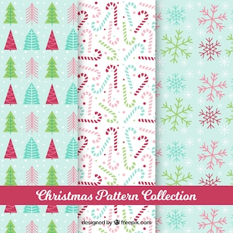Patterns with decorative christmas elements