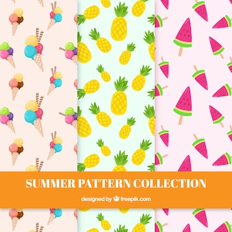Patterns with fruit and ice cream