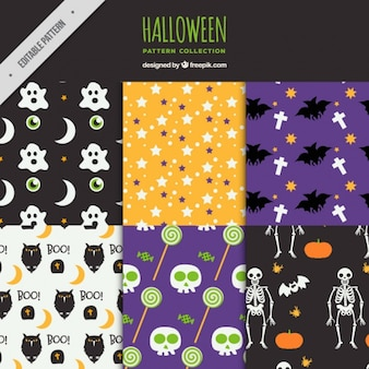 Patterns with hand-drawn halloween elements