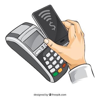 スマートフォンのバックグラウンドで支払い