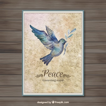 Peace card with a hand painted dove