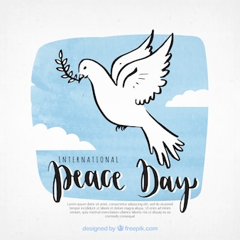 Peace day background with hand drawn dove