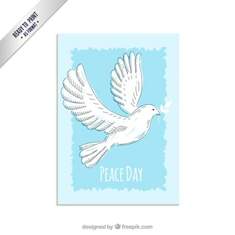 Peace day card with hand drawn dove