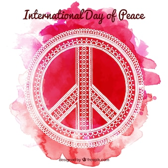 Peace symbol with background in red tones
