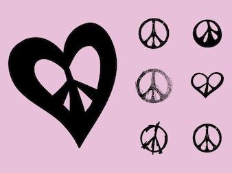 Peace symbols flower power vector