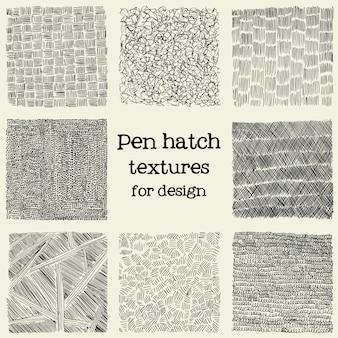 Pen hatch grunge textures set