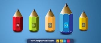 Pencil icons small and colorful