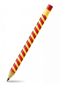 pencil with a spiral printed in yellow and red