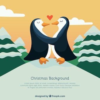 Penguin couple in love, christmas background
