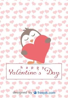 Penguin in Love Cartoon Valentine's Day Card