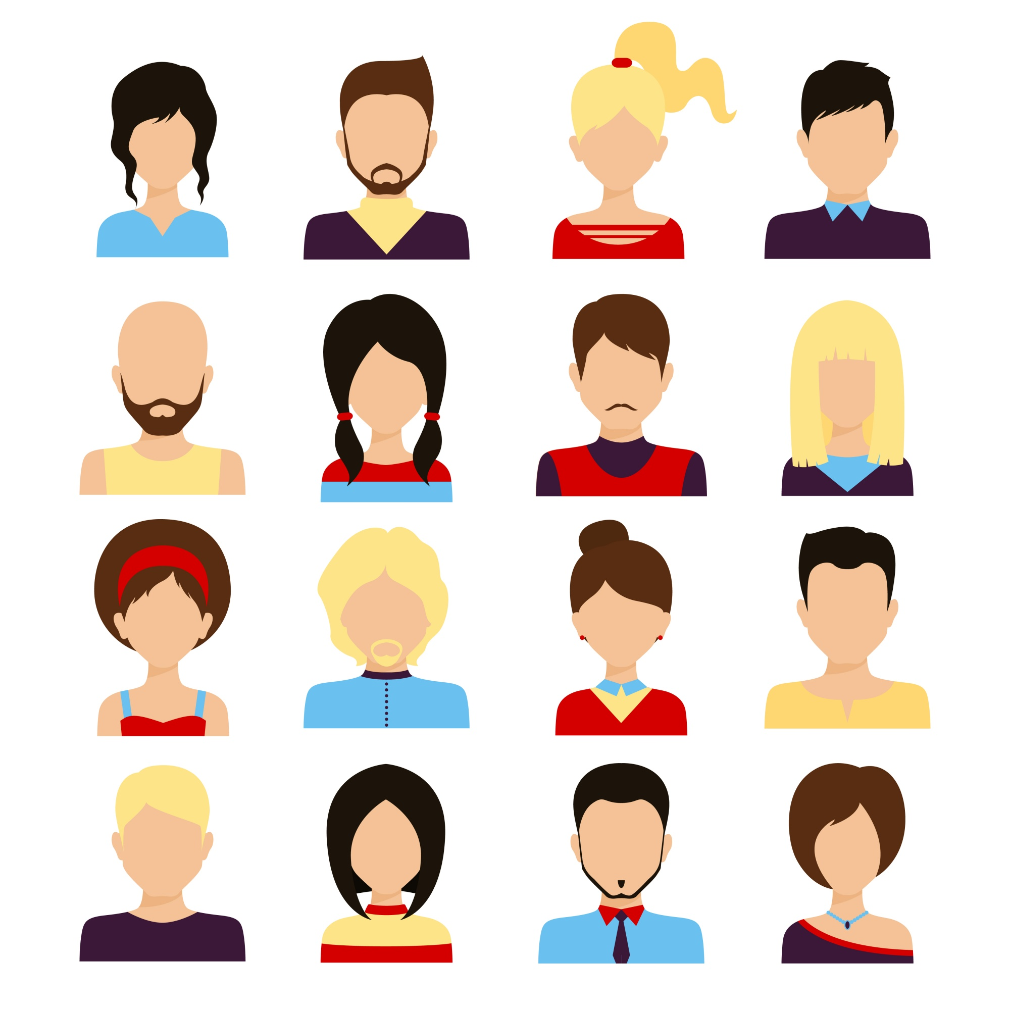 People avatar male and female human faces social network icons set isolated vector illustration