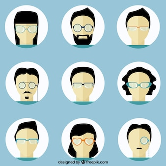 People avatars with glasses
