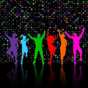 people dancing colourful silhouettes