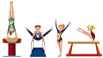 People doing gymnastics on different equipment illustration
