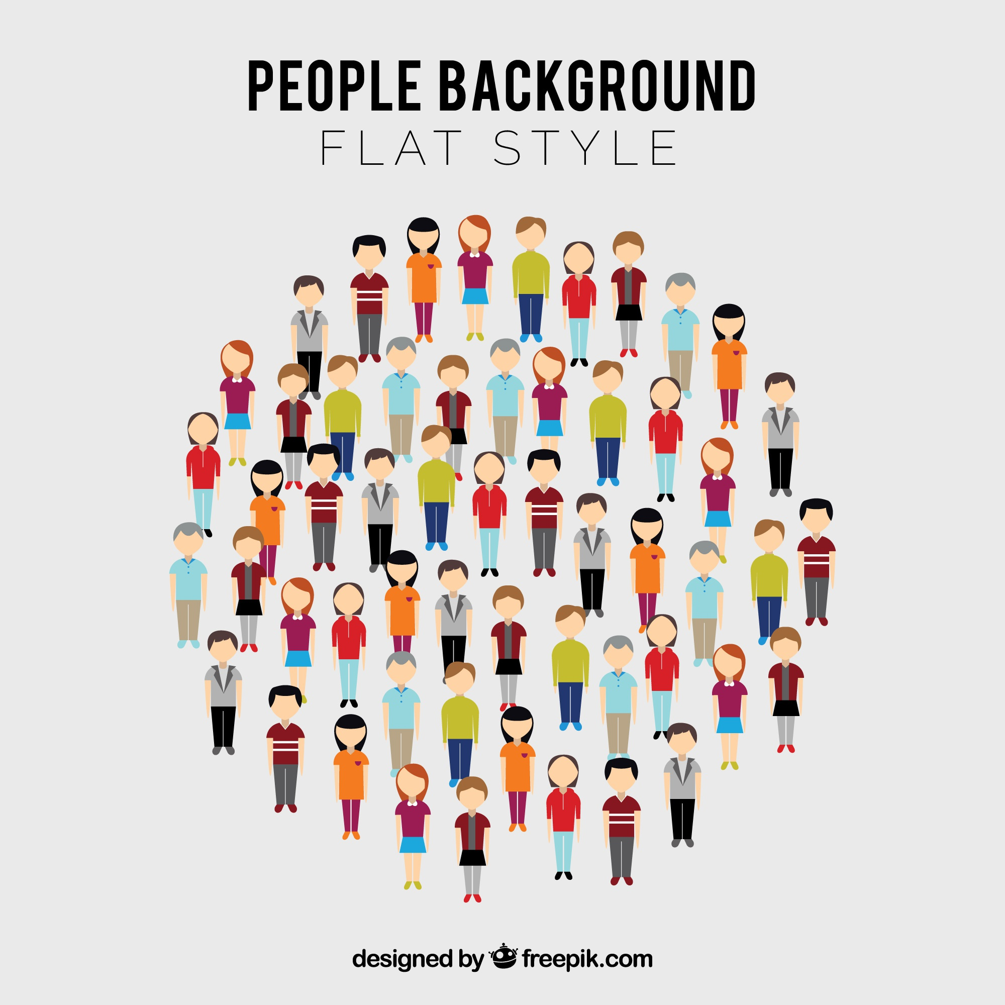 People in circle with flat design