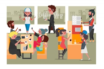People in the Coffee Shop, Cartoon Character Design flat style