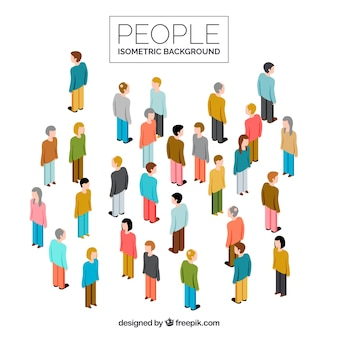 People isometric background