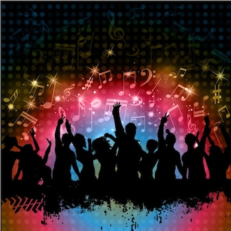 People Partying Silhouettes Background