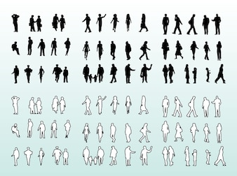 People silhouettes and outlines design pack