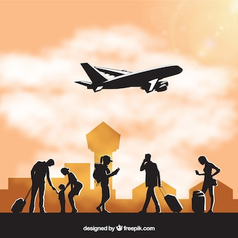 人々が空港でシルエット