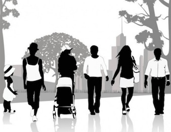 People silhouettes in park vector pack