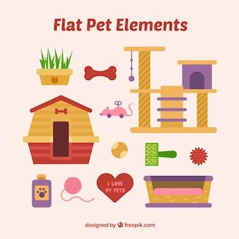 Pet elements in flat design