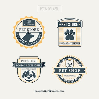 Pet shop badges with yellow details