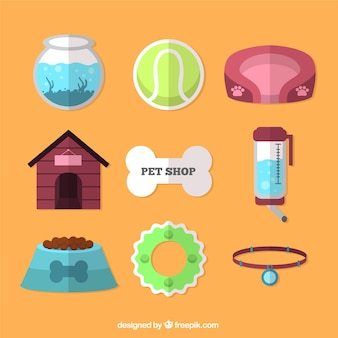 Pet store objects in flat design