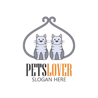 Pets shop, pets care, pets lover icon with text space for your slogan