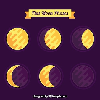 Phases of the moon in flat design