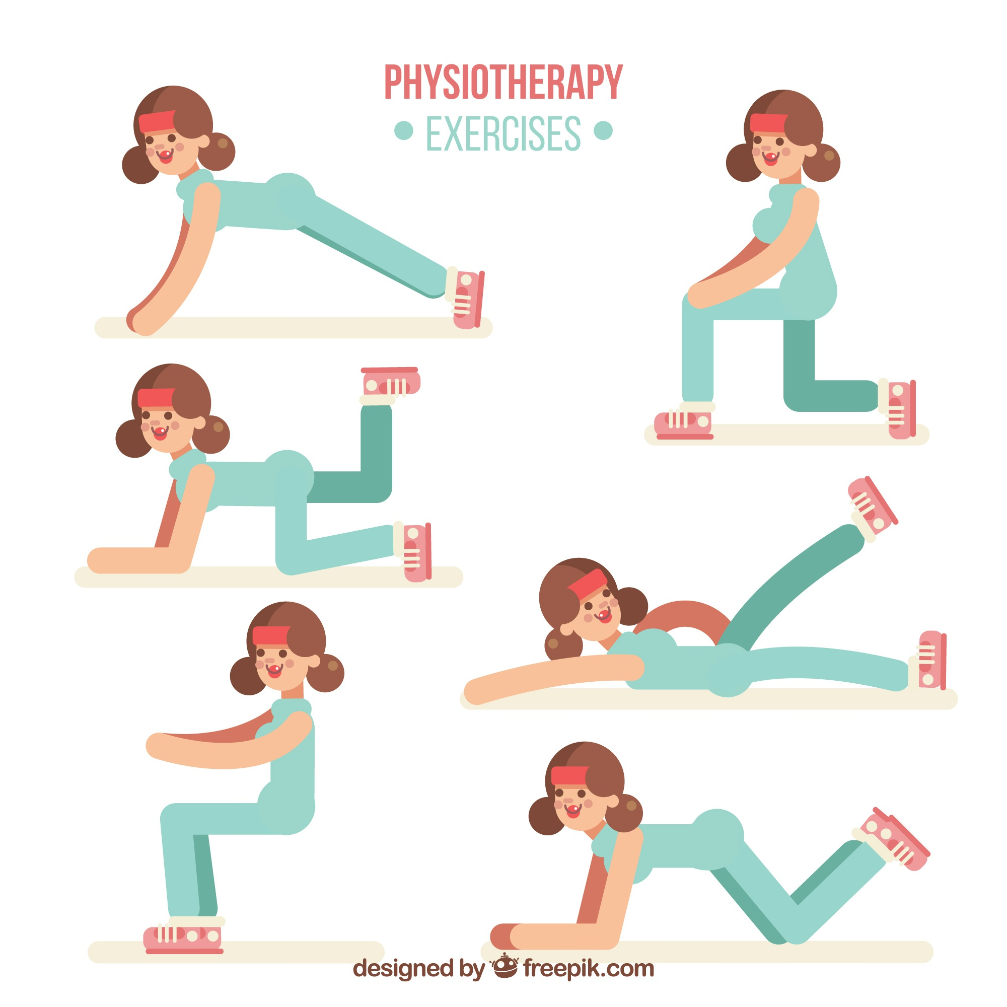 Phisiotherapy exercises with flat design