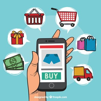 Phone and shopping elements with cartoon style