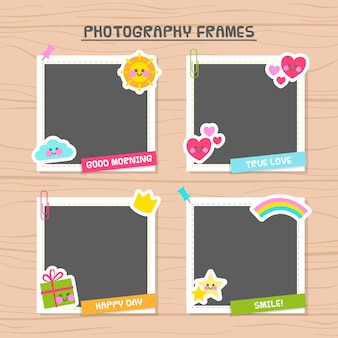 Photo frames decorated with beautiful elements
