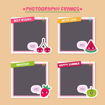 Photo frames decorated with fruit