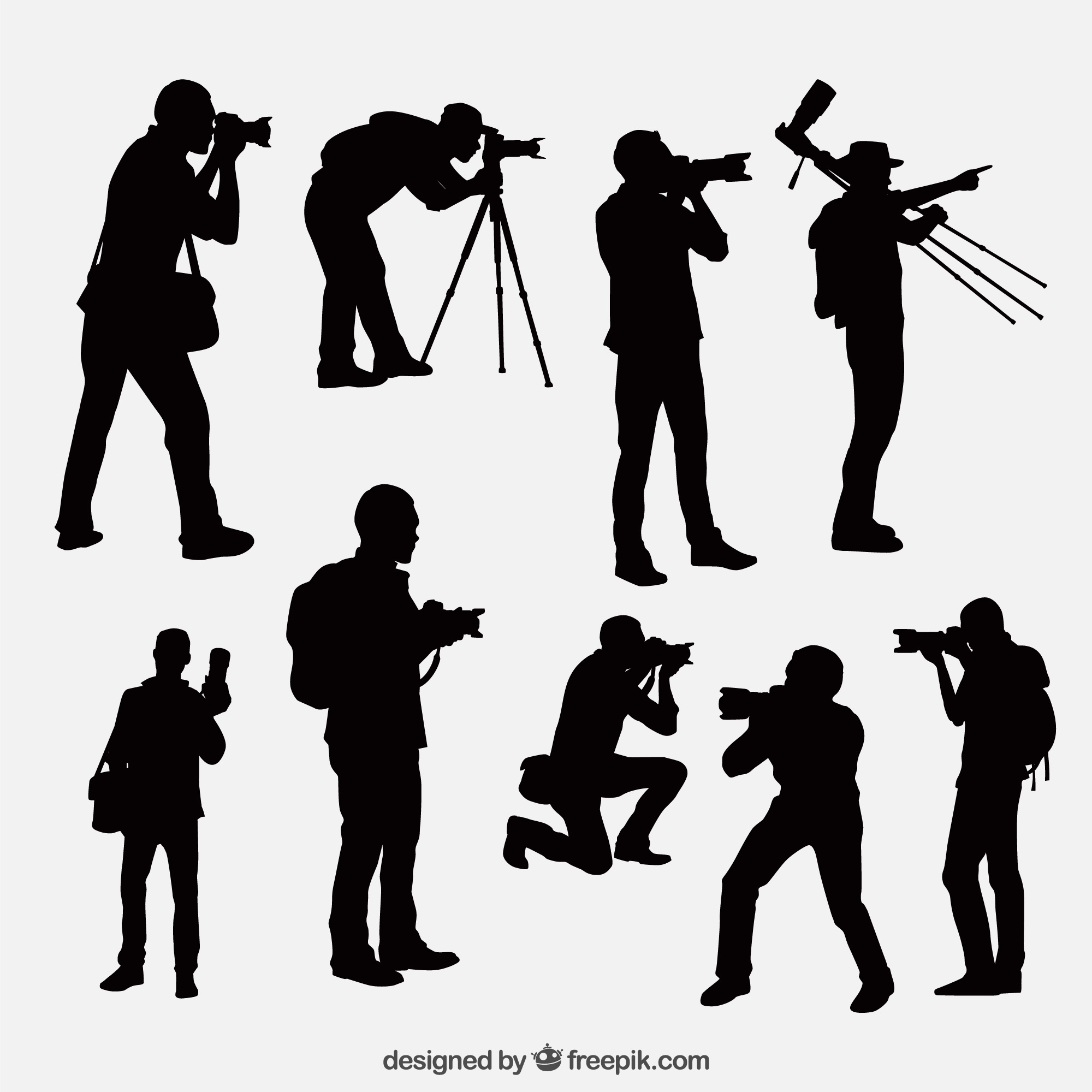 Photographer silhouettes in different positions