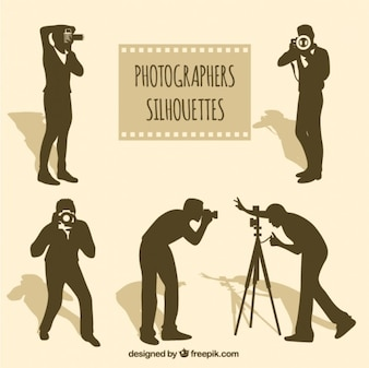 Photographers silhouettes in different situations