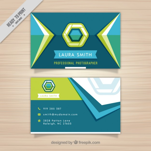 Photography business card with geometric shapes