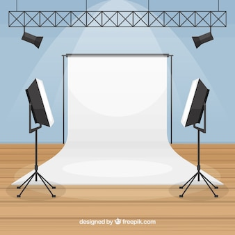 Photography studio with lights