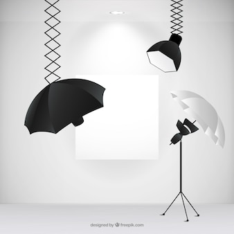 Photography studio with professional spot lights