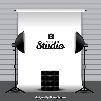 Photography studio with white background