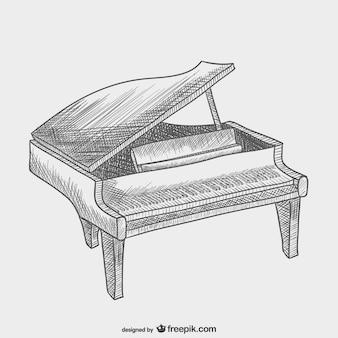 Piano drawing vector