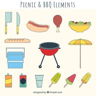 Picnic and bbq element collection