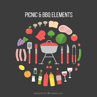 Picnic and bbq equipment in flat design