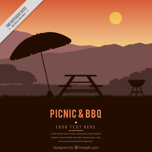 Picnic and bbq sunset background