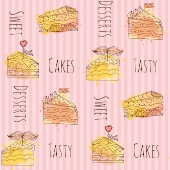 Pieces of cake pattern background